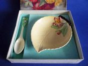 Carlton Ware Yellow 'Apple Blossom' Jam Dish and Spoon Boxed Set c1939